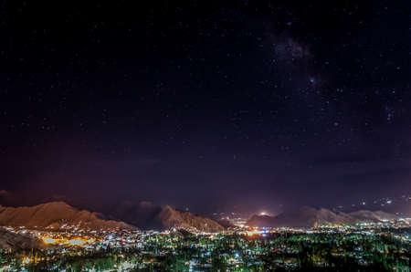 Leh, panoramic view in night, Ledakh, Jammu and Kashmir; The little Tibet.