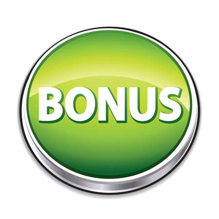 commerce and industry: Green bonus button.
