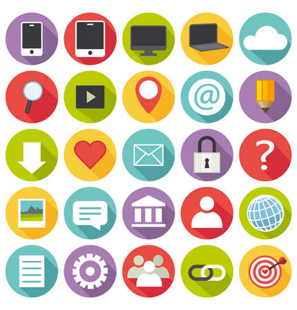 Flat design  Office and business icons for Web and Mobile Applications   Set  Illustration
