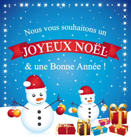 Merry christmas greeting card II French Illustration