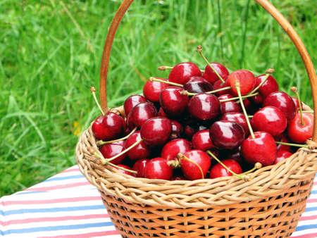 Cherry basket Stock Photo