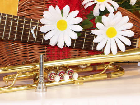 Acoustic guitar with trumpet Stock Photo