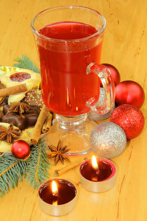 Hot drink for Christmas with delicious cookies Stock Photo