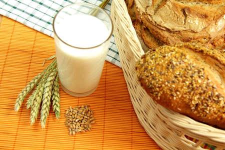 Bread, milk and wheat Stock Photo