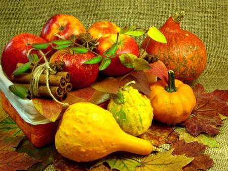 Autumn basket decor Stock Photo