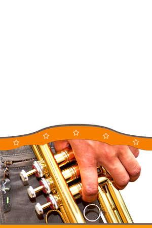 Trumpet in hand background