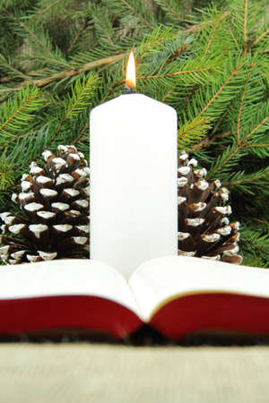 Bible and candle Stock Photo