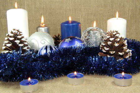 Blue Christmas style candles