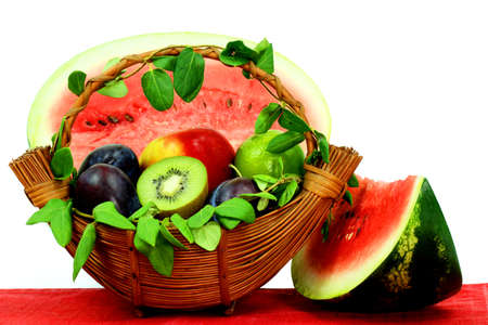 Fresh fruits and watermelon Stock Photo
