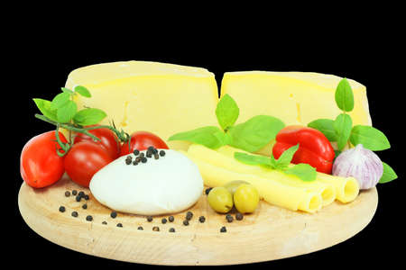 Cheese on black background Stock Photo