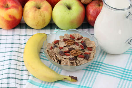 Cereals, apples and milk Stock Photo