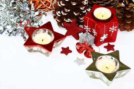 Candles on white background