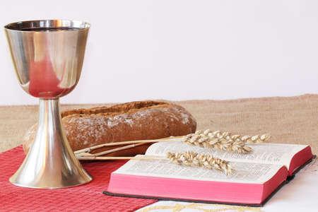 santa cena: Tabla de comunión  Foto de archivo