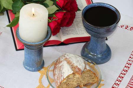 santa cena: Símbolos cristianos Foto de archivo