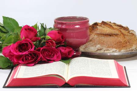 santa cena: Tabla Señor con rosas