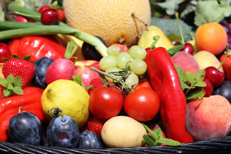 Fresh vegetables and fruits harvest Stock Photo