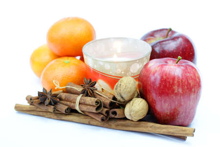 Apple candles and oranges Stock Photo