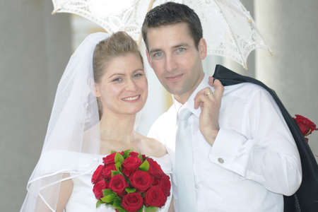 Just married young couple portrait