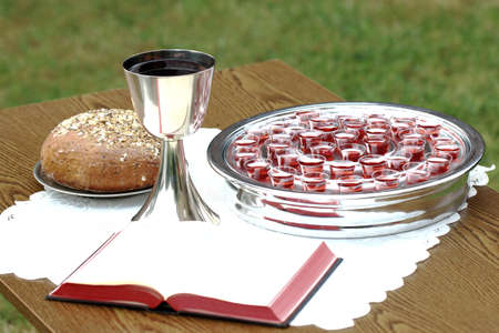 Chalice, bread, Bible