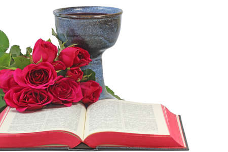 Caliche, roses and Bible on white background