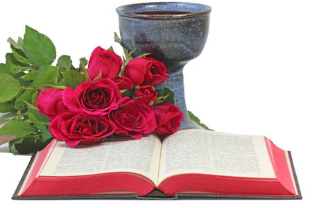 Roses, Chalice and open Bible on white background