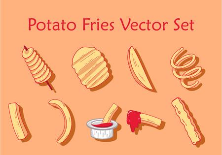 Potato fries set Illustration