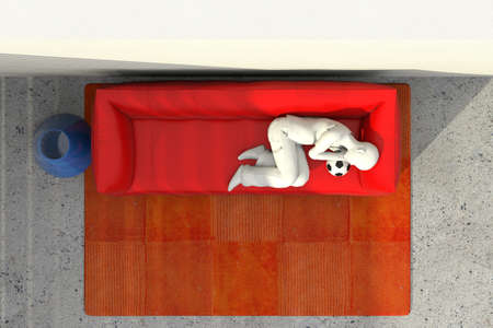 violet residential: Sofa against the wall with the person resting lying