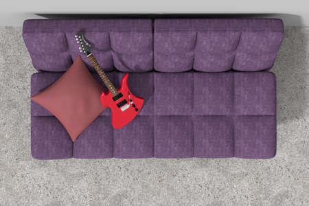 violet residential: Sofa against the wall with guitar