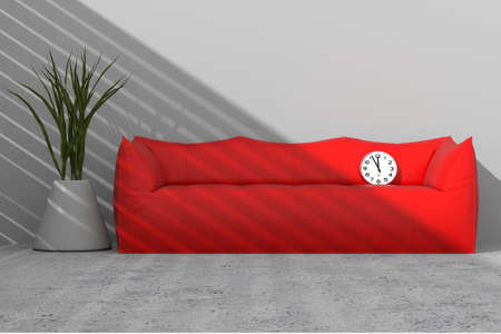 violet residential: Sofa against the wall with clock and vase