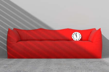 against the clock: Sofa against the wall with clock