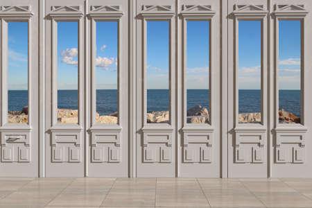 view through door: View through door to the sea