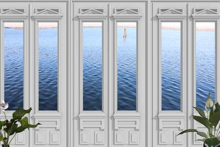view through door: View through door on the Venetian lagoon