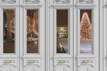 view through door: View through door on the square Christmas