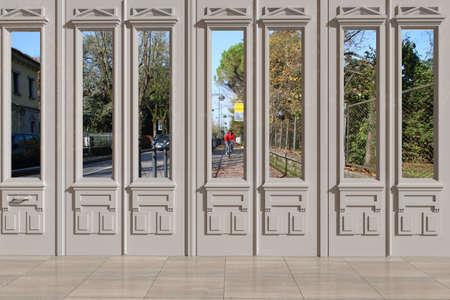 view through door: View through door on bike path Stock Photo