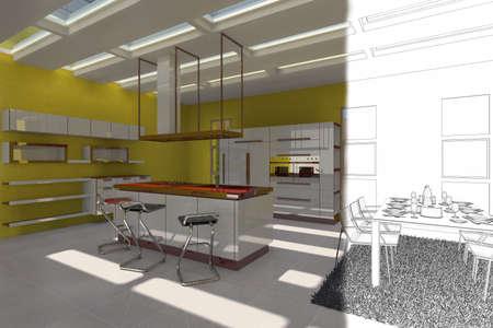 Rendering modern kitchen and grunge photo