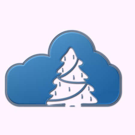 albero: Nuvola con simbolo albero Natale