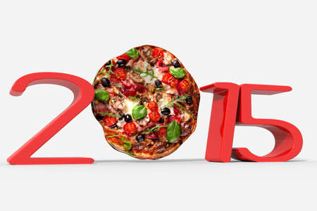 Year 2015 with a pizza instead of zero