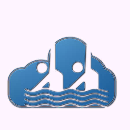 synchronized: Cloud with sport symbol synchronized swimming Stock Photo