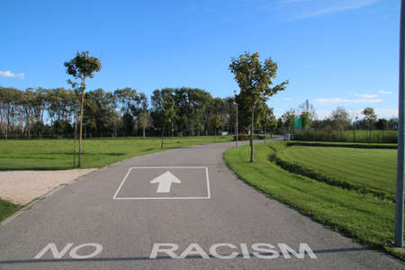 Pedestrian path indicating racism photo