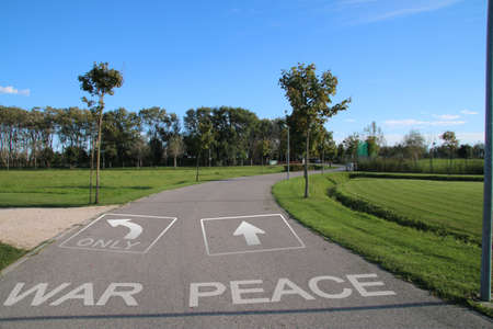signposted: Footpath signposted for peace Stock Photo
