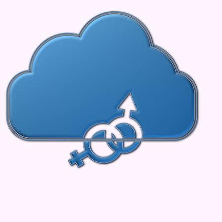 Nuvola con simbolo uomo e donna