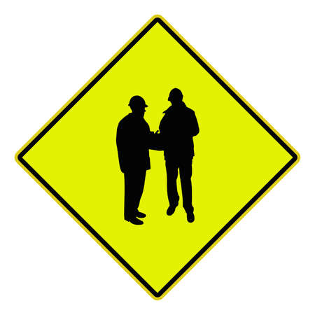 USA Road sign showing people silhouettes on site photo