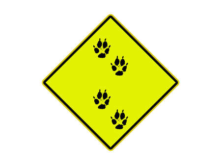 USA Road sign Indicating footsteps animals photo