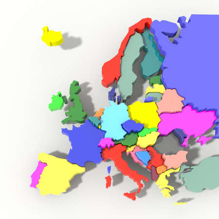 Europe Map 3D color relief Foto de archivo