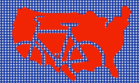 indication: USA map with indication bicycle Stock Photo