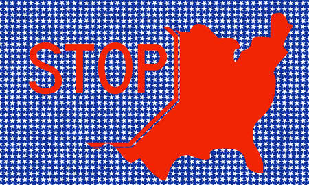 indication: USA map with indication STOP Stock Photo