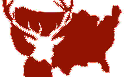 indication: USA map with indication deer Stock Photo