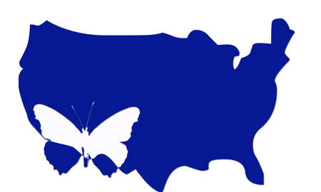 indication: USA map with indication butterfly