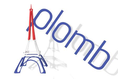 aplomb: Eiffel Tower 3D text with aplomb (balance)