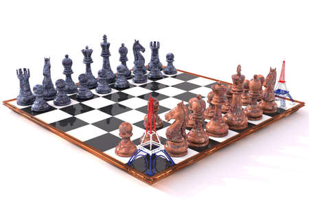 replaces: Eiffel Tower 3D replaces tower in chess game Stock Photo